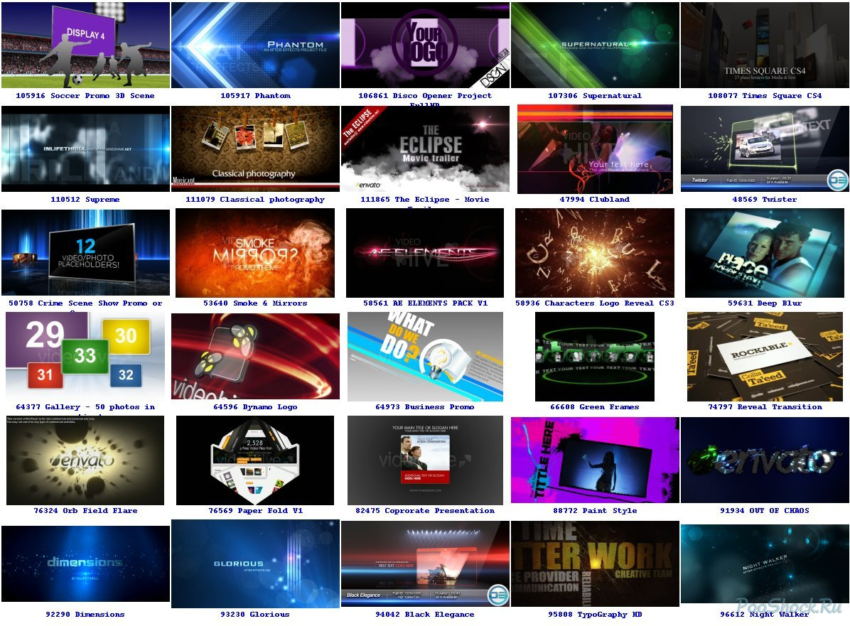 Videohive projects pack part 2-4 website: videohivenet adobe after effects cs2, cs3, cs4, cs5 aep, mov, jpg, ai