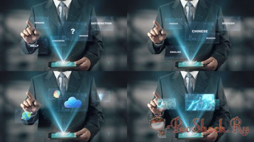 VideoHive - Hologram Businessman Screens (AEP)