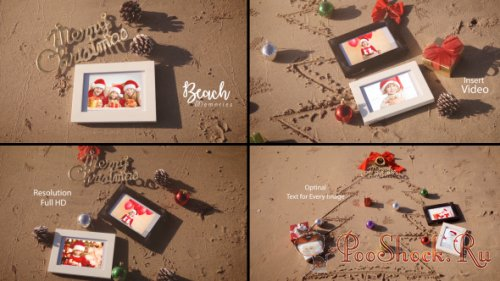 VideoHive - Christmas Photo Frame On Thee Beach (AEP)