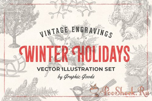 Winter Holidays - Vintage Engraving Illustration Set (PNG,AI)