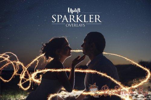 CreativeMarket - 160 Sparkler Overlays (JPG, ATN)